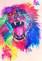 The colourful roar of a lion by IridescentArt1996