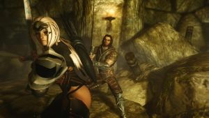 Sylah and Farkas in a Dungeon by Iazcutler