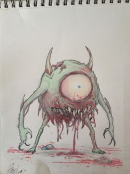 Demonic Mike Wazowski by Bubbledinker
