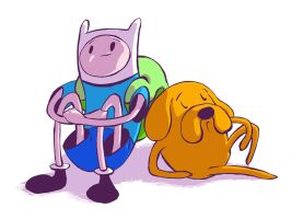 Jake the dog and Finn the human by DmitriYu