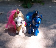 Filly Princess Celestia, Luna Custom With Crowns by Agony-Roses