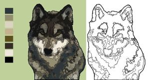 Wolf - Coloring Book page with example by FractalBee