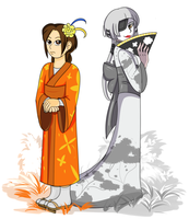 Chell and Glados in kimono by Tetris-Fan