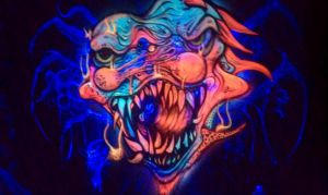 8 foot  by 8 foot 3d uv painted airbrush clown by dragonhuntr