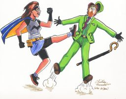 Misfit vs. The Riddler by doctor-morbius