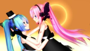miku x luka magnet tda models! wallpaper? XD by HaruhichanxD