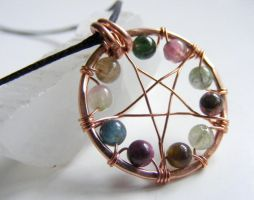 Rainbow Tourmaline Pentacle by MoonLitCreations