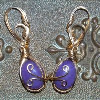 Charoite Earrings In Gold by innerdiameter