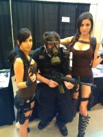 NF Comicon : Me and Two Laura Croft's by TheWarRises