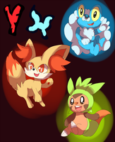 X and Y Starters by LizardonEievui13
