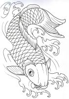 Koi Outline 2 by vikingtattoo