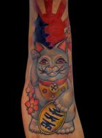 lucky cat tattoo by michaelbrito