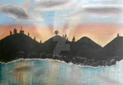 Sunset Water Valley Pastel and Charcoal Drawing by blacknimproud