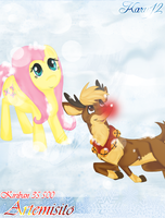 [Kiriban] Fluttershy and Rudolph by Karu12