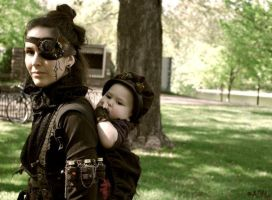 Steampunk mother and her child by Sebbal