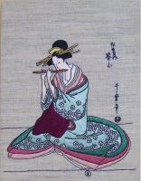 Hand embroidered painting Flute Player by YANKA-arts-n-crafts