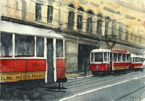Prague trams by Medhi