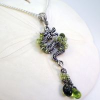 Green Dragon Pendant by bugsandbears