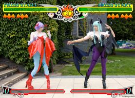Ame 2012 Morrigan and Lillith fight Game version by Mangamad