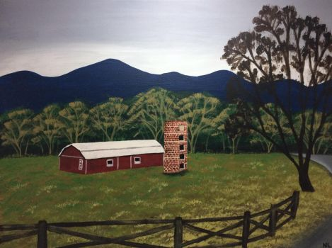 Red Barn  Blue Mountains by noellewis