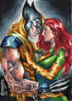 wolverine-Jean grey sketch card by Kokkinakis-Achilleas