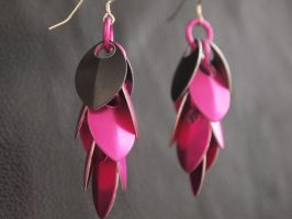 Pink and Black Dragon's Tail Earrings by ofmyhats