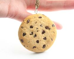 Chocolate chip cookie necklace by ChroniclesOfKate