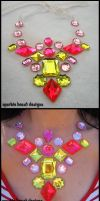 Electric Pink Gem Necklace by Natalie526