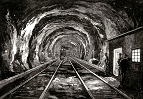Steampunk old railway tunnel line art stock by IHCOYC
