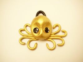 Gold Octopus Pendant by KimsButterflyGarden