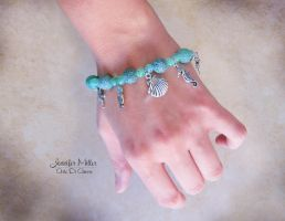 Ocean Blue Beaded Charm Bracelet by ArteDiAmore