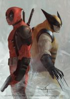 Deadpool vs Wolverine by waLek05