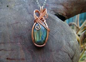 Green and Orange Labradorite Wrapped in Copper by crystalpanther2