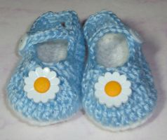 Blue baby mary jane shoes by Crochet-by-Clarissa