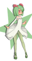 Kirlia, Full Body Color Commission Example by Willowbranwen