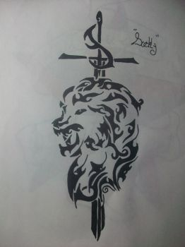 Tribal lion by duckystattoos101