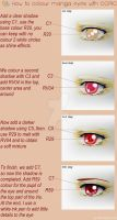 Tutorial COPIC, coloring manga eyes, red version by Suki-Manga