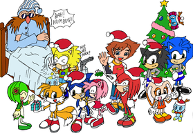 Sonic Christmas Party by Messengerrobo