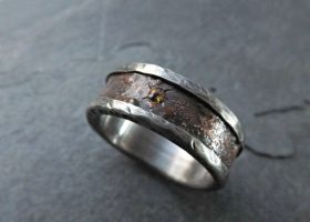 Rustic Bronze Silver Ring With Gemstone by Siihraya