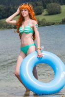 Nami on the beach - One Piece Cosplay by Tinu-viel