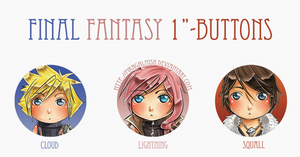 Button Set- Final Fantasy by Pikakus