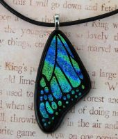 Blue Swirl Glass Wing by FusedElegance