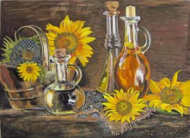 Sunflowers in pastel by LuthienneTinuvielle
