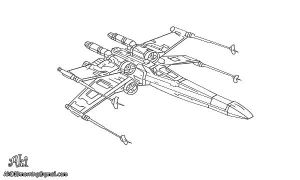 X-Wing starfighter - lineart by AkiDIDmorning