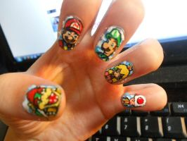 Mario Kart Character Nails by marissa287