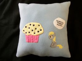 DERPY Muffin Handmade Custom Plush Pillow by grandmoonma