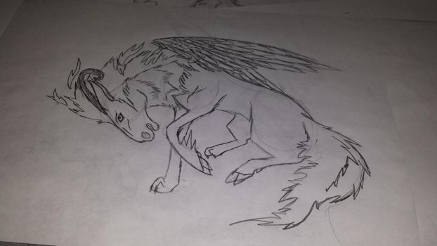 random horse wolf with wings and horns sketch by LordAresWar