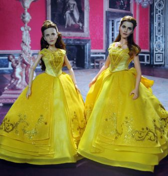 Before and After Doll Repaint Emma Watson as Belle by noeling