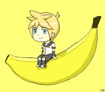 (Vocaloid 8) Chibi Len and His Banana by MidnightCatK