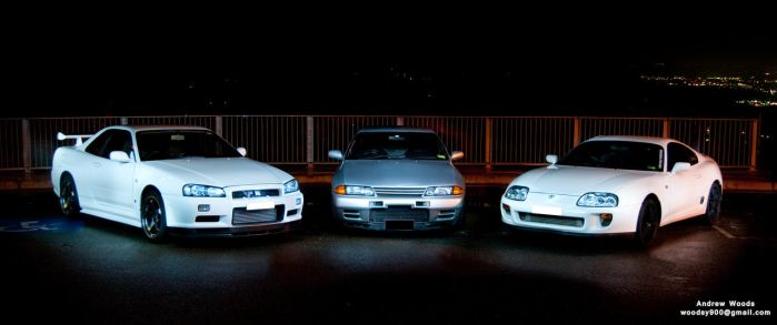 R34 GTR R32 GTR and Supra by woodsy900